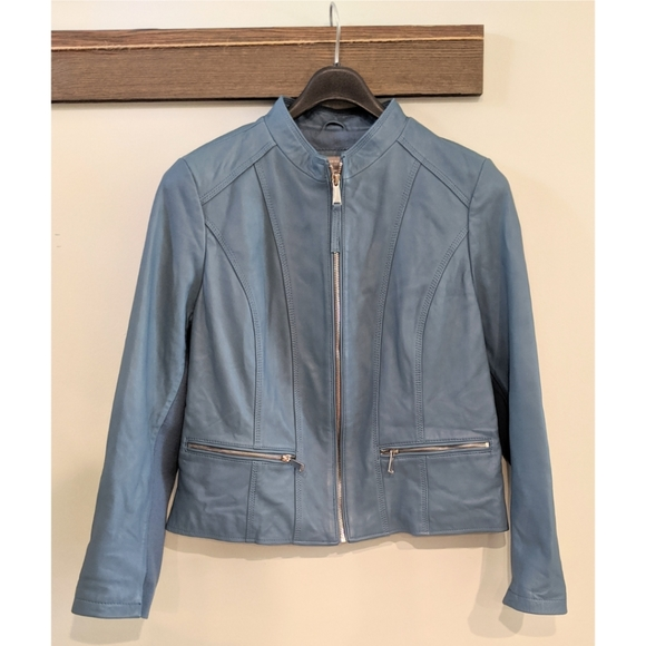 Neiman Marcus Jackets & Blazers - Neiman Marcus Exclusive XL Blue Leather Jacket